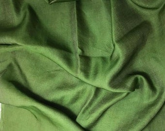 Hand Dyed SPINACH GREEN Silk and Cotton Blend Sateen Fabric - 1 Yard