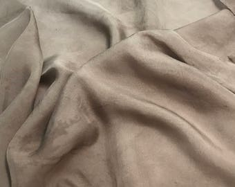 Hand Dyed TAUPE BROWN Soft Silk Organza Fabric - 1/3 yard remnant
