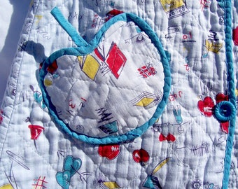 Vintage Baby Quilted Cotton Robe School Theme Blue Cartoons Doll Bear