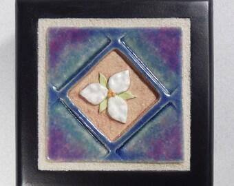 Trillium Tile Treasure Box ~ Jewelry Box ~ Gift for Mom ~ Ceramic Art Tile ~ Wooden Keepsake Box ~ White ~ Purple ~ Blue