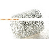Holiday Sale - Sterling silver ring, Crochet ring , Silver band ring , Wire ring , Handmade ring, soft silver ring