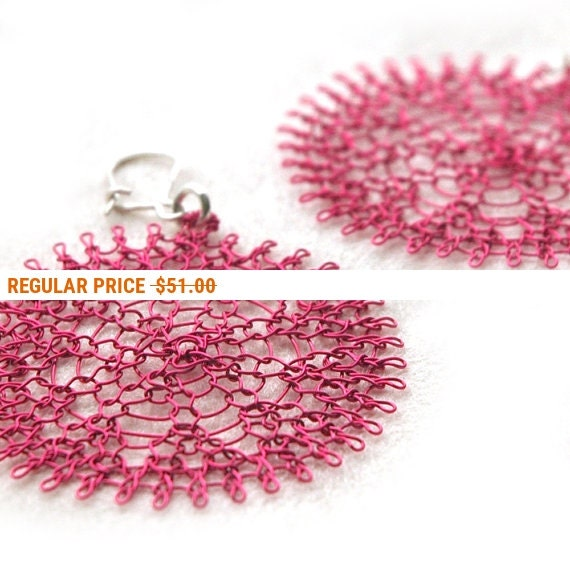 Holiday Sale - Pink flower earrings, wire crochet  spring fashion