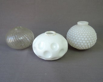 3 Vintage Small Glass Lamp Globes, White Milkglass & Clear, 3 inches Hobnail, Swirl