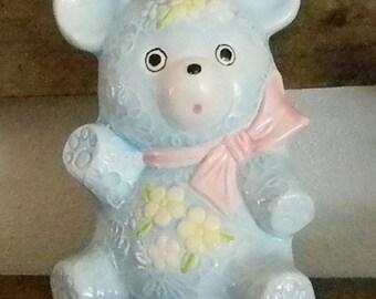 Fall Sale Vintage Blue Teddy Bear Planter- (S)