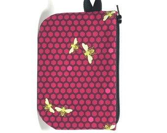 Honeybee on pink hexagon zip pouch.  Zipper pouch. Small zip pouch. Coin purse. Card holder.  Gift card holder.  Business card holder.
