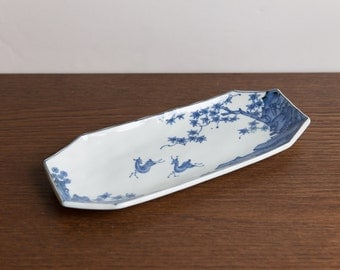 Vintage blue and white tray, Japan