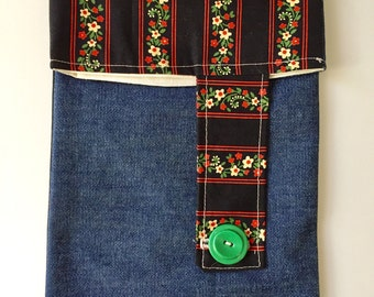 Red green and cream floral striped lined denim pouch