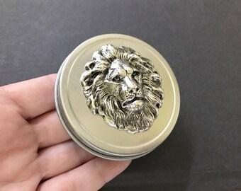 Lion Trinket Box Lion Pill Box Lion's Mane Lion's Head Silver Lion Wildlife Animal Gift Tin Metal Jewelry Tin Pill Box Small Storage Tin
