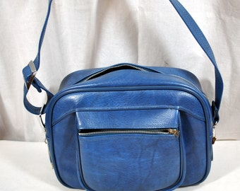 Vintage Blue American Tourister Carry On - Over Night Tote Shoulder Bag -  Faux Leather