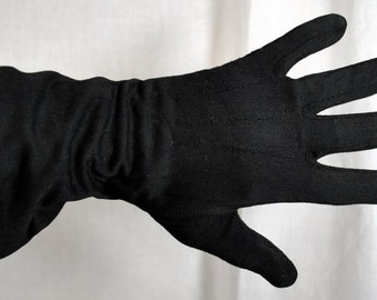 Vintage HANSEN Size 7 Ladies Black Gloves - Made in the USA - Hanson