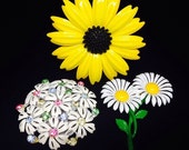 Vintage Lot of 3 Flower Brooch Pins, White Daisy, Brown Eyed Susan, White Flowers with Rhinestones, Costume Jewelry