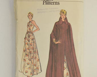 1970s Vintage Vogue Sewing Pattern 7949 Womens Evening Length Halter Dress, Drawstring Neckline & Floor Length Unlined Collar Cape Size 10