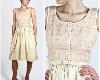 Vintage 1950s Beige and Pink Sleeveless Shirt-Waist Dress with Smocked Tank by A Junior Sophisticates Original | Small