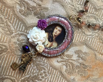 Steampunk Fantasy Victorian Renaissance Framed Portrait Pendant Necklace with Assemblage and roses