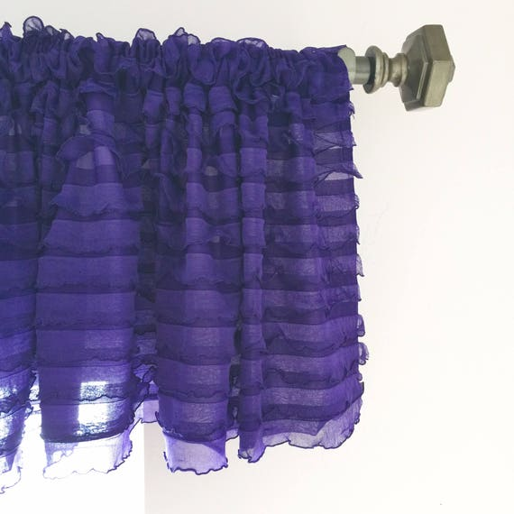Purple Valance   Purple Kitchen Curtains   Bedroom Valances  Ruffle Valance  Curtains  Extra Wide Valance  Girl Nursery Curtain Sheer Valance