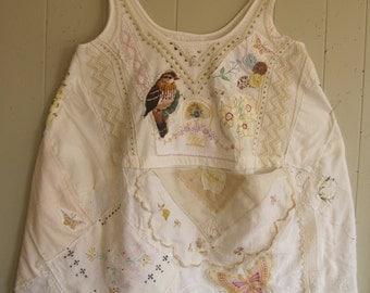 vintage HANKY TUNIC - crochet, linens, embroidery, doilies, handkerchief -  Collage Clothing - Wearable Folk Art - myBonny
