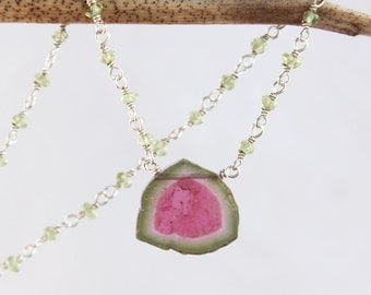 Watermelon Tourmaline Necklace, Watermelon Tourmaline Slice Necklace with Peridot - Sterling Silver