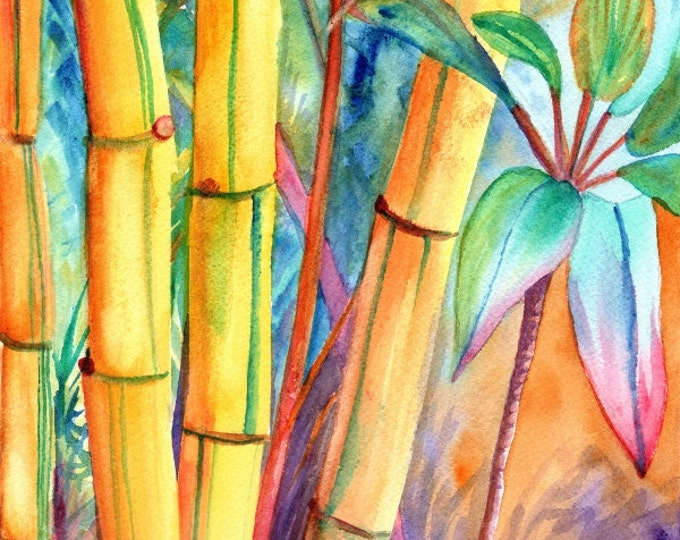 lucky bamboo art prints, 8x10 giclee art, kauai maui oahu hawaii, japanese oriental asian zen, whimsical print, kauai fine art, kauaiartist