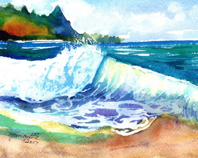 tunnels beach kauai hawaii ocean wave original watercolor painting  blue teal turquoise aqua waves big surf watercolour art kauaiartist