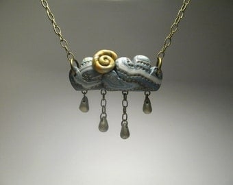 Sunny Storm Cloud Necklace - Polymer Clay Jewelry - Nature Lover