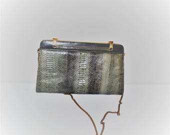1960s mod snakeskin clutch small structured chain strap purse