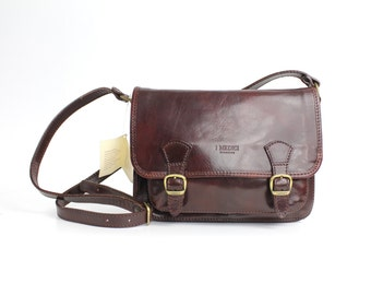 Perfect Crossbody Bag | Vintage Vegetable Tanned Leather Bag | Classic I.Medici Mahogany Leather Shoulder Bag