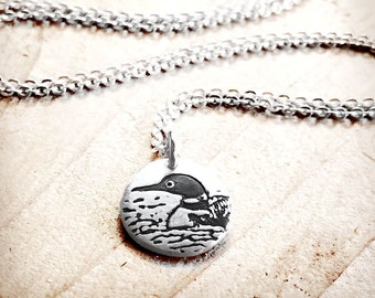 Tiny loon necklace, silver common loon jewelry, water bird, loon charm