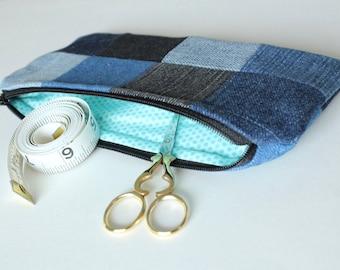 Patchwork Zipper Pouch, Upcycled Denim, Seafoam Dot