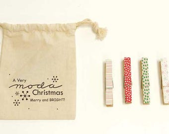 Merry & Bright Clothespins Set by Me and My Sister for Moda