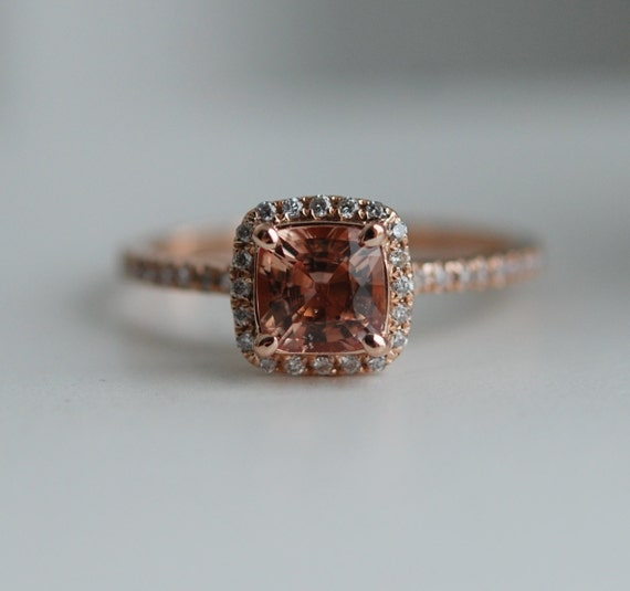 0.82ct Square Cushion Ginger Peach sapphire 14k rose gold diamond ring engagement ring