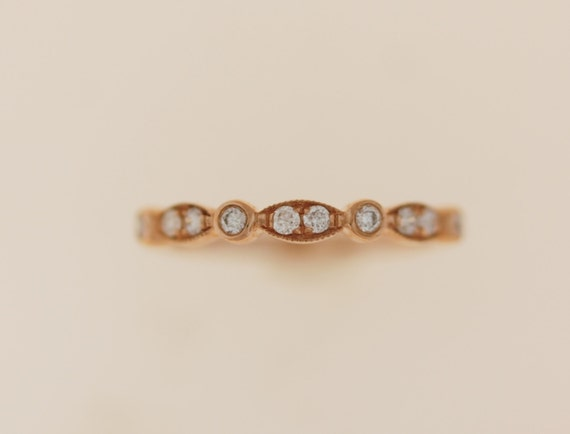 Scalloped band Rose Gold Wedding Band Stackable 14k Rose Gold Diamond Band Half Eternity band
