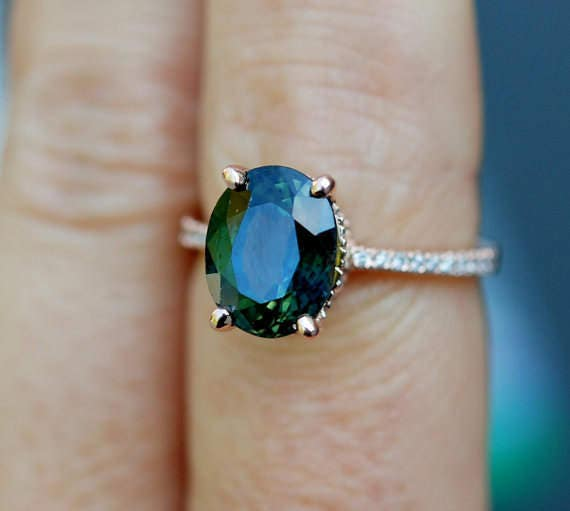 Green sapphire engagement ring. Peacock green sapphire 3.96ct oval halo diamond  ring 14k Rose gold. Engagenet rings by Eidelprecious.