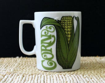 Corn. Vintage 1970s small stoneware mug.
