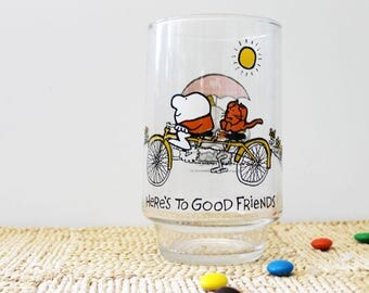 Here's to Good Friends. Vintage 1970s collectible Ziggy glass.
