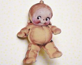 Kewpie Doll Brooch Pin - Shrink Plastic - Kitsch