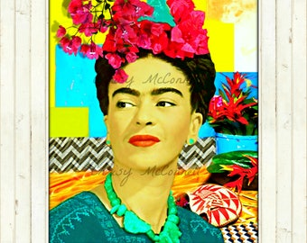 Frida Kahlo Art Poster Print All Sizes to Huge Instant Digital Download  Mexico Boho Mixed Media Collage Modn Home Wall Decor Multi Colored