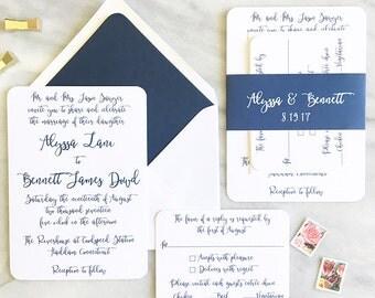 Modern Calligraphy Wedding Invite - Navy Wedding Cards - Personalized Wedding Invitations