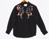 80's EMBROIDERED cactus western shirt // cowboy boots // women's novelty blouse // black cotton by Wrangler // size S M