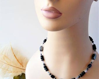 One of a Kind Sterling Silver Swarovski Crystals Czech Glass Hematite Necklace