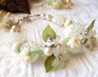 Sale.......One of a Kind Lampwork Glass Swarovski Crystal Pearl & Vintage Lucite Bracelet