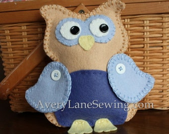 AveryLane Hand Sewing Project Felt Owl PDF Pattern