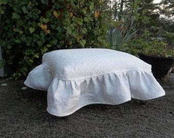 Linen Slipcover Footstool Slipcovered Ottoman Cottage Style Stool White Linen Slipcover Custom Slipcovers Available
