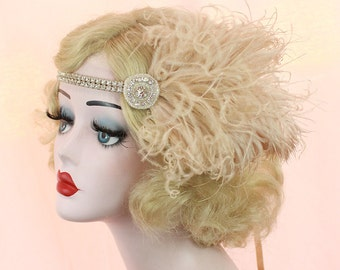 Champagne and Silver Headband - Great Gatsby Headpiece - Feather Fascinator - 1920s Flapper - Bridal Hair Accessory - Halloween Costume