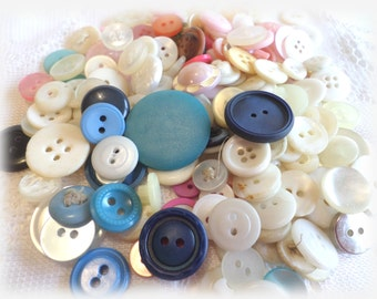 170 Pink, White and Blue Buttons for Sewing Crafts Scrapbooking Cardmaking