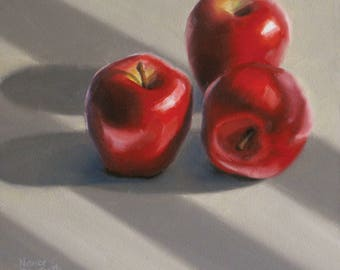 Red Apples In Sunlight 6x6 original oil painting realistic still life by Nance Danforth