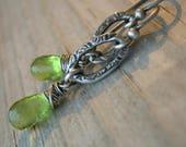 Peridot Wire Wrapped Sterling Link Earrings August Birthstone