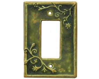 Vine Single Rocker Ceramic Switch Plate in Green Ocher Glaze