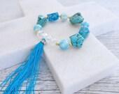 Chunky Blue Turquoise Agate Bead Gemstone Tassel Bracelet Boho