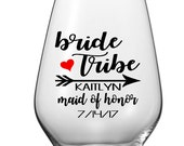 Personalized DIY Bride Tribe Wine Glass Decals, Custom Wine Glass Bridal Party Decals