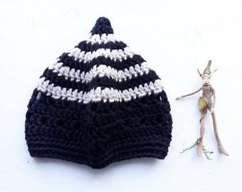 INKCAP Crochet Gnome Hat, Black, Parchment